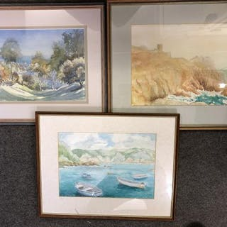Three framed watercolours of Guernsey coastal scenes - Channel Islands interest