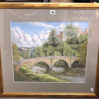 A large framed and glazed pastel picture of Ludlow Castle