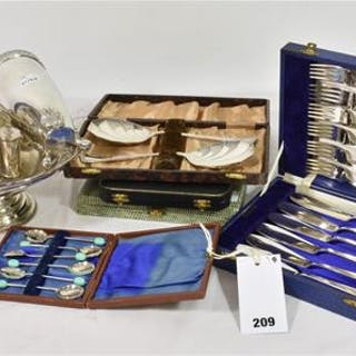Five cases of various silver plate cutlery etc to include coffee spoons