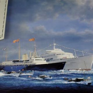 """A Special Limited Edition """" The Royal Escort """" print by marine artist"""