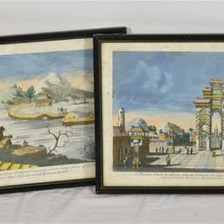 A pair of hand coloured prints by Robert Sayer