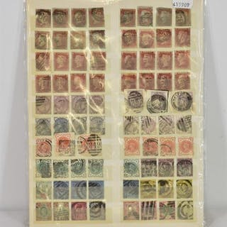 A stock card of Queen Victoria stamps.