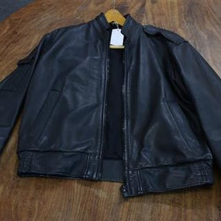 A men's black leather aviation jacket made by Aviation Leathercraft.
