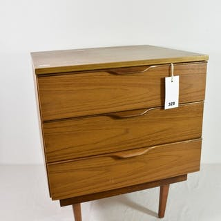 A vintage Europa Furniture three drawer bedside table.