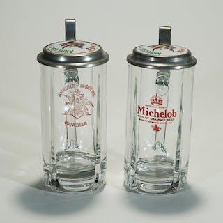 Anheuser-Busch Budweser Michelob Porcelain Lid Stein Set