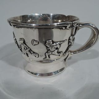 763745d182f3 Sale Price  Edwardian sterling silver baby cup with applied allegorical  frieze – Current sales – Barnebys.com