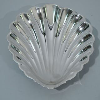 Sale Price: Large sterling silver scallop shell bowl