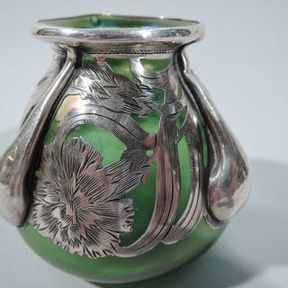 Sale Price: Art Nouveau iridescent green glass bud vase with silver overlay