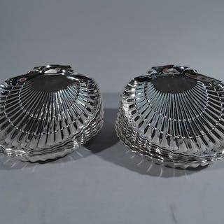 Sale Price: Set of 12 sterling silver scallop shells