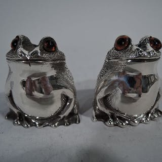 Sale Price: Pair of English sterling silver figural salt & pepper shakers