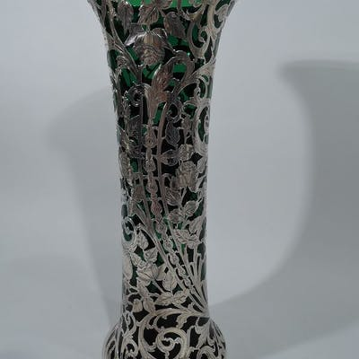 Sale Price: Tall Art Nouveau emerald glass vase with silver overlay