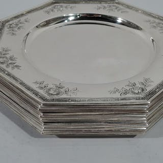 Sale Price: Set of 10 Edwardian sterling silver bread-and-butter plates
