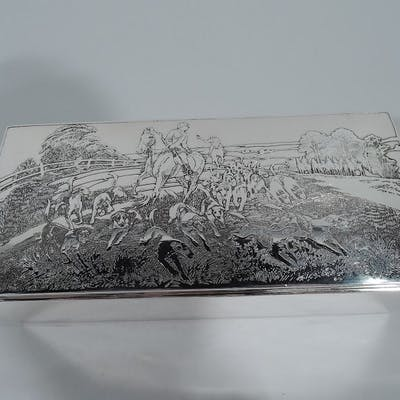 Sale Price: American Edwardian sterling silver box with hunt motif