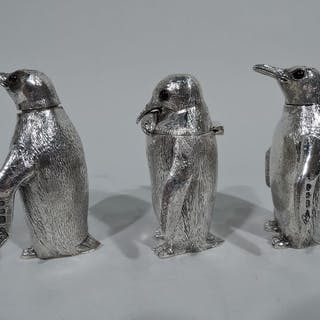 Sale Price: Classic penguin sterling silver condiment set