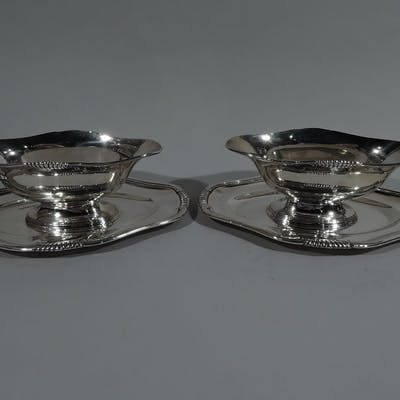 Sale Price: Pair of French 950 silver Classical gravy boats on stands