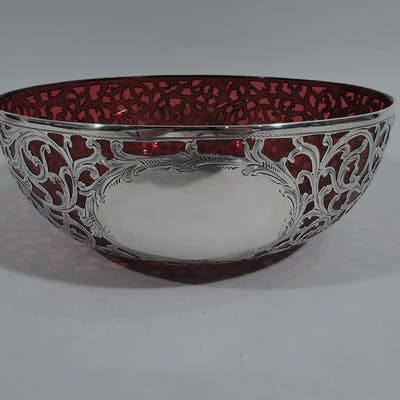 Sale Price: Beautiful Art Nouveau red glass bowl with silver overlay