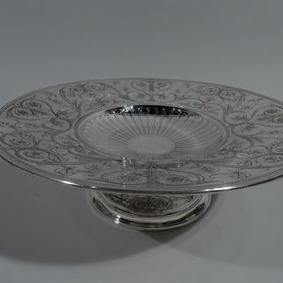 Sale Price: Striking Art Nouveau Classical sterling silver centerpiece compote