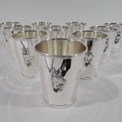 Sale Price: Set of 10 American sterling silver mint julep cups