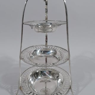 Sale Price: Edwardian sterling silver tiered bonbon stand