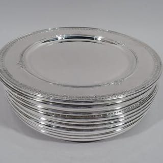 Sale Price: Set of 12 sterling silver dinner plates in Shamrock