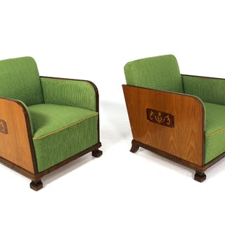 A pair of lounge chairs Art Deco, Swedish Grace 1930s