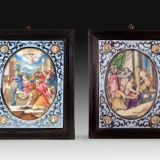PAREJA DE VITELAS ENMARCADAS. FRANCESCO DA CASTELLO (1541-1621)