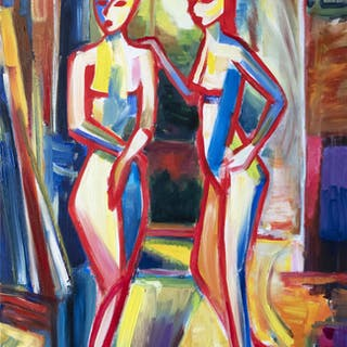 Two girls in studio bright colorful expressive art - Maciej Ciesla