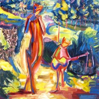 """"" Fauns musicians """" expressive bright painting - Maciej Ciesla"