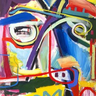 Abstract portrait  modern colorful painting new - Maciej Ciesla