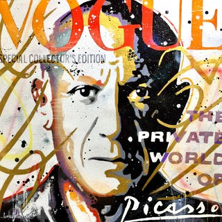 Picasso vogue gold  orange and red version - Patrick Cornee
