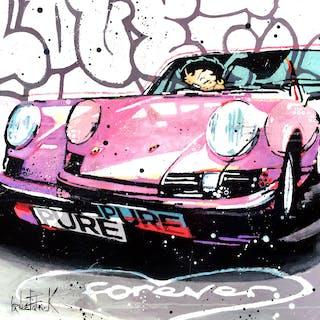 Porsche 911 forever  pink version  with Betty Boop - Patrick Cornee