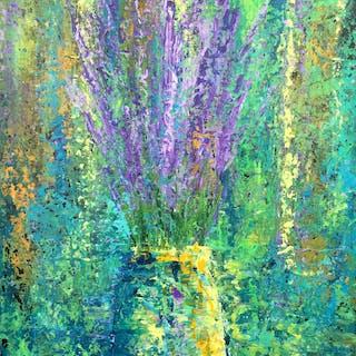 Lavender in Yellow Vase - Lianna Klassen