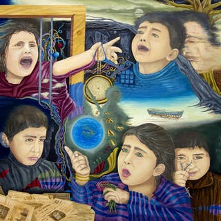 original oil painting freedom & Peace childhood - Esam Jlilati