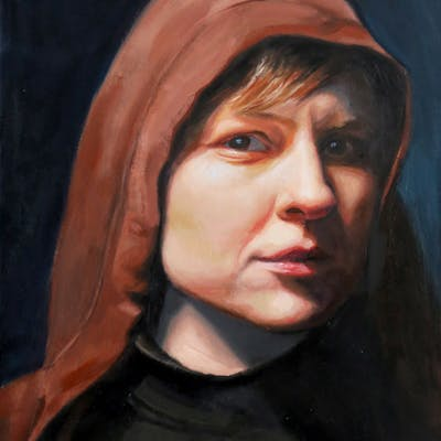 Portrait of a woman wearing a Hoodie - Christine Cousineau