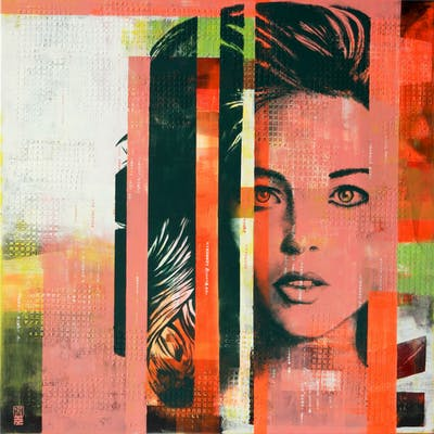 Pop Art Girl in Green - Ronald Hunter