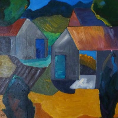 Farmyard In Moonlight - Seamus Corcoran