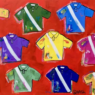 Polo Shirts -- on red - Brian Nash