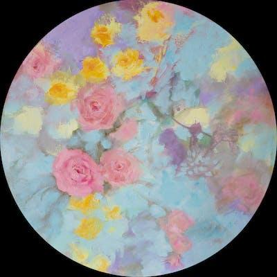 Romantic floral tondo - Fabienne Monestier
