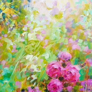 Les roses au jardin Flowers in the garden - Fabienne Monestier
