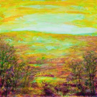 Yellow meadow - Abstract Landscape - Fabienne Monestier