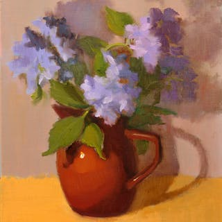BLUE HYDRANGEA IN BROWN VASE - Inna Lazarev