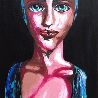 Deep in her blue eyes 35x70cm on canvas - Christina Bilbili