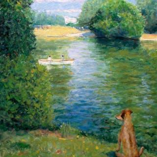 Paris Park Bois de Boulogne Boating Lake with dog - Gav Banns
