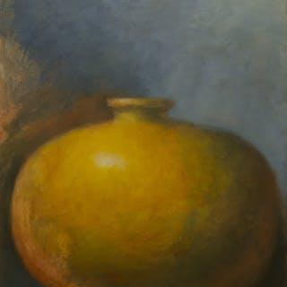 Yellow Amphora on Blue - Zev Robinson
