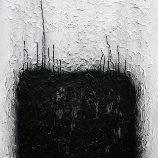 Black and white textured heavy duty painting - Joe Papagoda