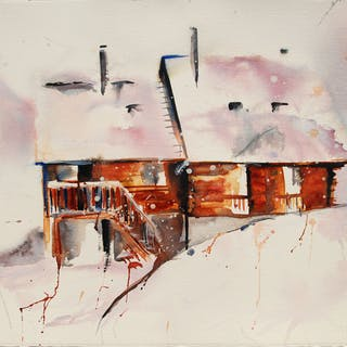 Watercolor of a mountain chalet under the snow. - Christine Jacquel