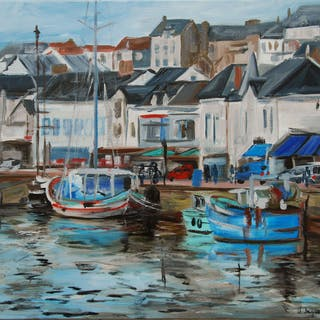 Original oil from a fishing port in France. Pornic - Christine Jacquel