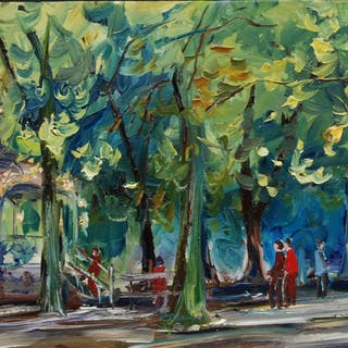 Outdoor oil of a public garden in France - Christine Jacquel