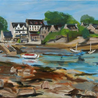 Oil painting of a small Breton harbor at low tide - Christine Jacquel
