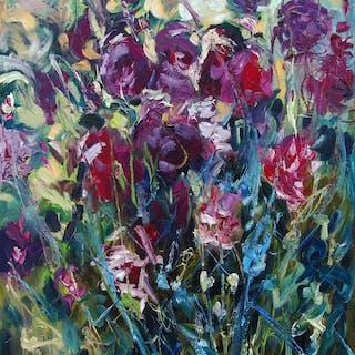 Original oil painting of purple flowers - Christine Jacquel